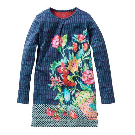 Oilily Jersey-Kleid Tusa Panel Vase Bouquet Blue
