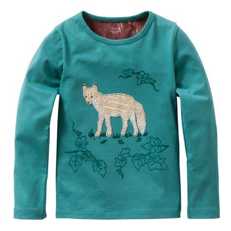 Oilily Langarm-Shirt Tip Plain Green With Artwork Paperfox Green