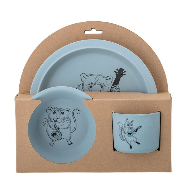 bloomingville geschirr set carl blue 3er set online kaufen emil paula kids. Black Bedroom Furniture Sets. Home Design Ideas