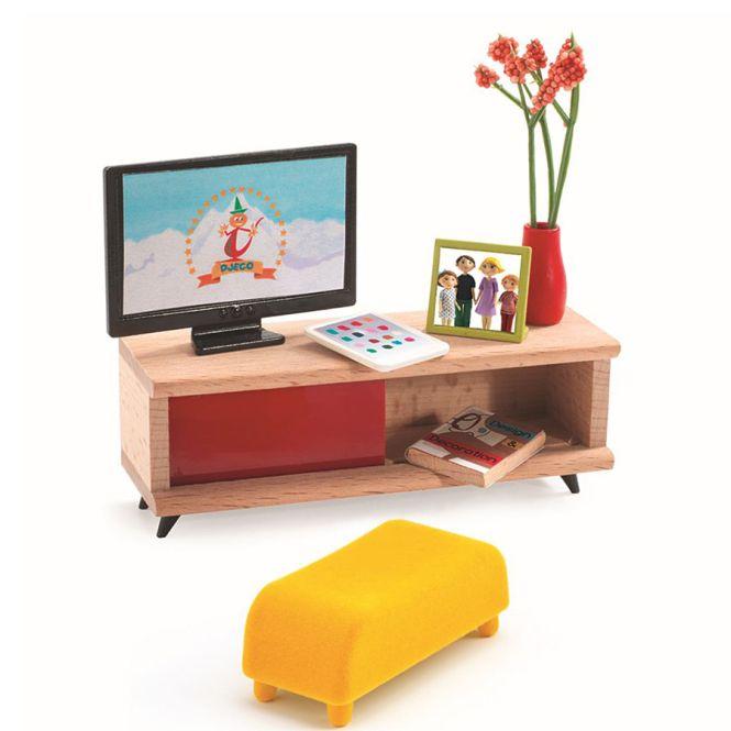djeco puppenhaus einrichtung fernsehzimmer online kaufen emil paula kids. Black Bedroom Furniture Sets. Home Design Ideas