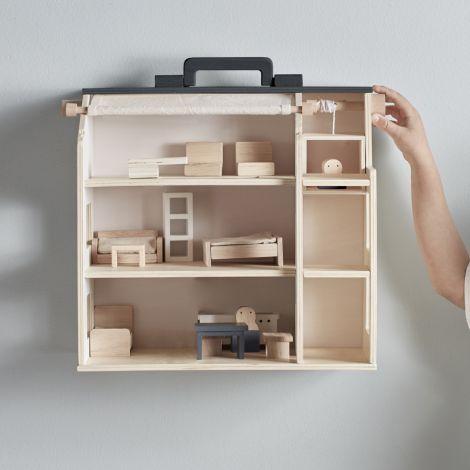 Kids Concept Puppenhaus Tragbar Aiden mit viel Zubehör