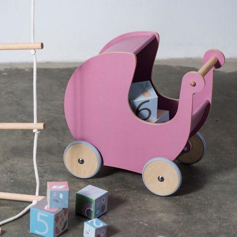 Sebra Puppenkinderwagen Holz Grau •