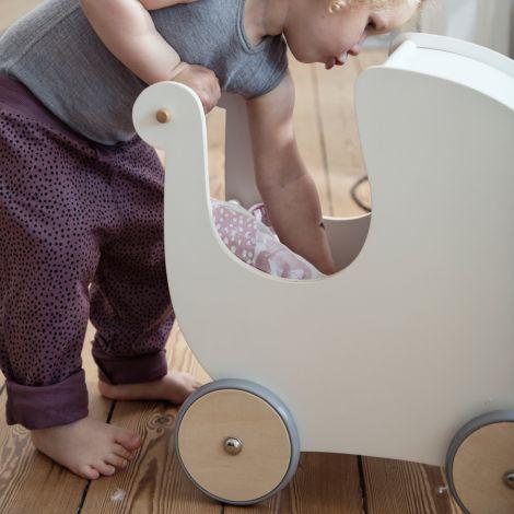 Sebra Puppenkinderwagen Holz Weiß •