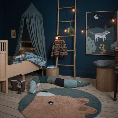 Sebra Teppich gewebt Woody der Bär Midnight Green