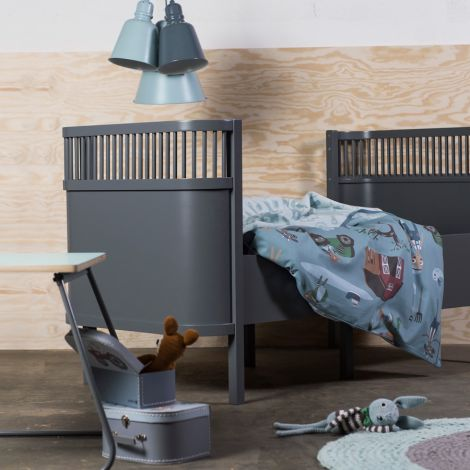 Sebra Baby & Kinderbett Dunkelgrau •