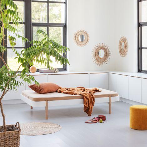 Oliver Furniture Bett Wood Lounger 120 x 200 Weiß/Eiche