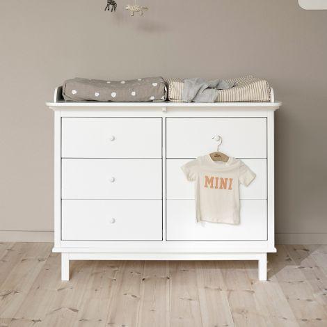 Oliver Furniture Seaside Wickelplatte für Kommode 6 Schubladen Weiß