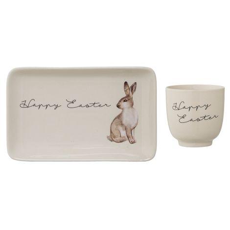 Bloomingville Tasse und Teller Easter White 2er-Set •