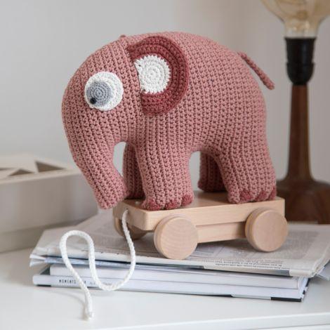 Sebra Häkel-Nachziehtier Fanto der Elefant Blossom Pink
