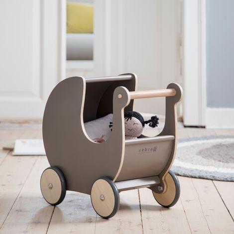 Sebra Puppenkinderwagen Holz Warm Grey •