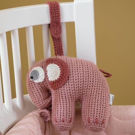 Sebra Häkel-Spieluhr Fanto der Elephant Blossom Pink