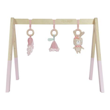 Little Dutch Holz Babygym Spieltrapez mit Spielzeug Pink