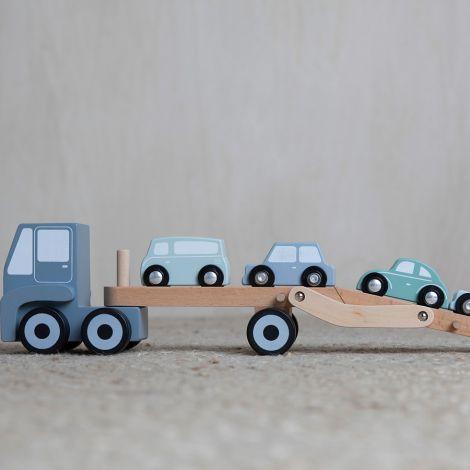 Little Dutch Holz Auto Transportwagen Blue