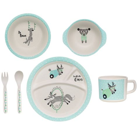 "Bloomingville Geschirr- Set Circus ""Be Brave"" Offwhite/Mint 6er-Set"