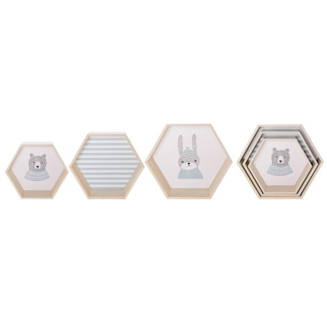 Bloomingville Aufbewahrungsbox Hexagonal Natural/Sky Blue 3er-Set