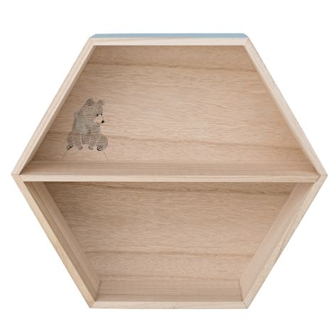 Bloomingville Display Box, Regal Hexagonal Natural/Dusty Blue