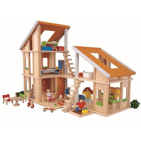 PlanToys Puppenhaus Chalet Möbiliert •