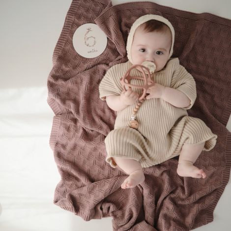 Mushie Gestrickte Babydecke Honeycomb Desert Rose