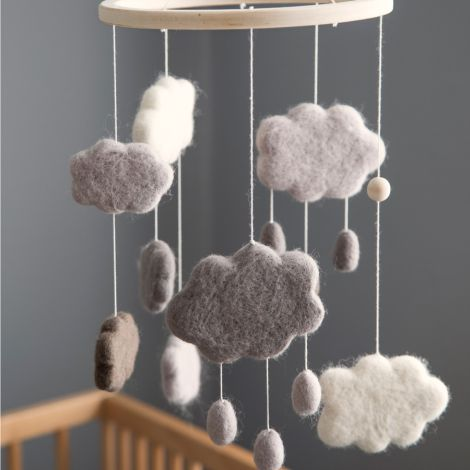 Sebra Baby-Mobile Filz Wolken Warm Grey