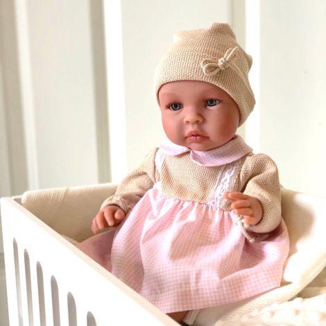 Asi Dolls Puppe Leo Rosa/Beiges Kleidchen
