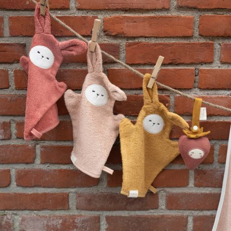 Fabelab Waschhandschuh Bunny Old Rose Mix 3er-Set