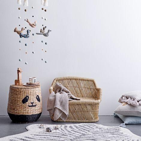 Bloomingville Korb mit Deckel Panda Nature •