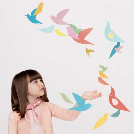 Djeco Mobile Bunte Vögel aus Papier