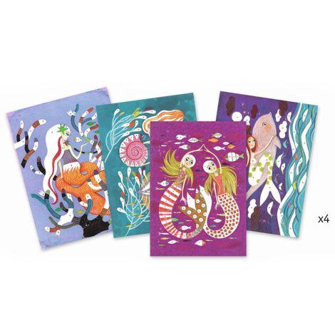 Djeco Glitzerkarten Meerjungfrauen