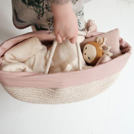 Fabelab Korb für Puppen Mauve Bio-Baumwolle