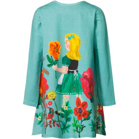 Room Seven Jersey-Kleid Toulas Field of Flower, Solid Turquoise