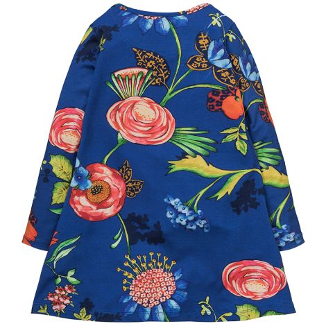 Room Seven Jersey-Kleid Toulas A-Linie Big Flower Blue