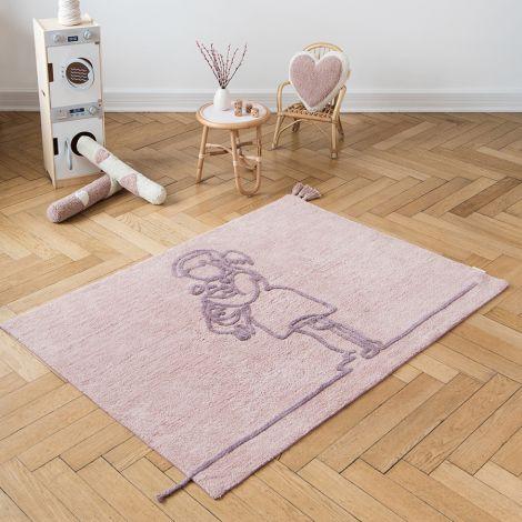 Minividuals Teppich Mädchen mit Hundewelpe