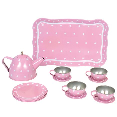 JaBaDaBaDo Tee-Set aus Blech im Koffer Pink 15-teilig
