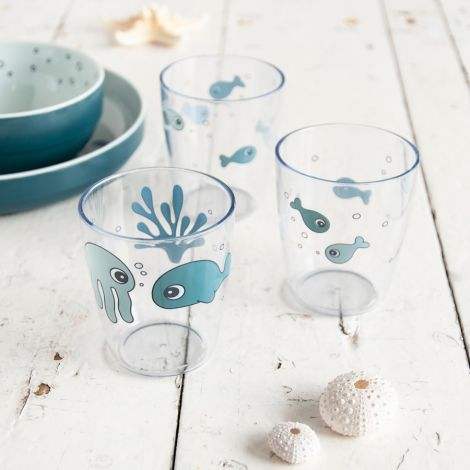 Done by Deer Glas Yummi Mini Sea Friends Blau 3er-Set