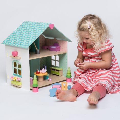 Le Toy Van Puppenhaus Evergreen House mit Möbeln