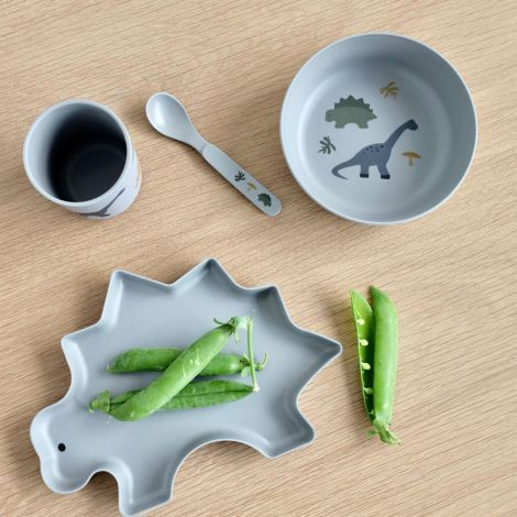 LIEWOOD Geschirr-Set Bamboo Dino Dove Blue Mix 4-teilig