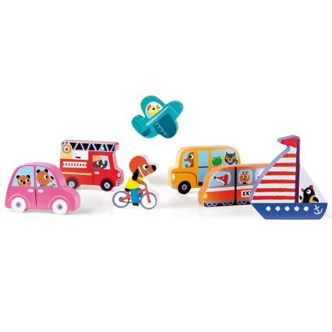 Janod Chunky Holzfiguren-Puzzle Fahrzeuge