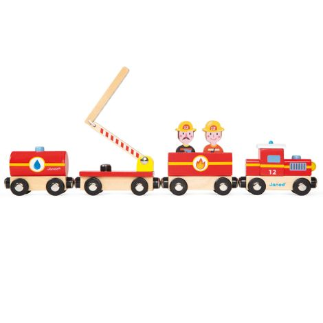 Janod Story Feuerwehr-Zug Holz Groß mit Figuren