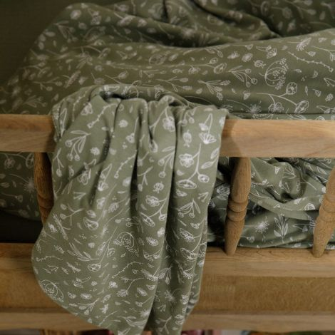 Little Dutch Tuch Swaddle 70 x 70 Wild Flowers Olive / Pure Olive 2er-Set