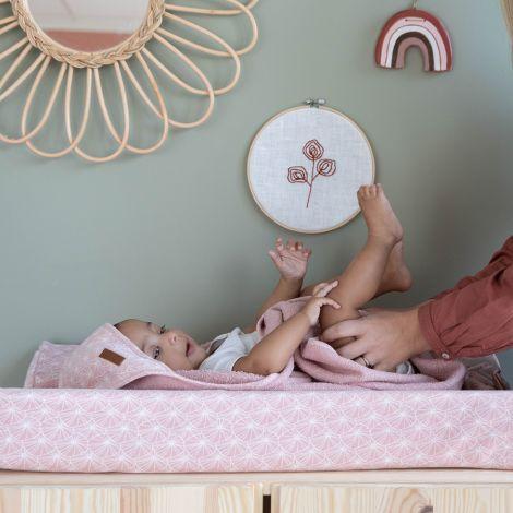 Little Dutch Wickelauflagenbezug Lily Leaves Pink 44 x 68-72 cm