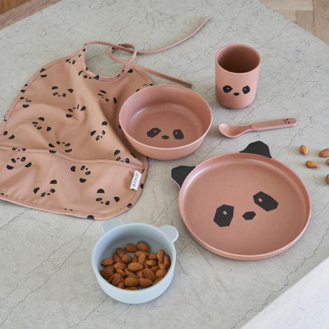LIEWOOD Geschirr-Set Bamboo Panda Tuscany Rose 4-teilig