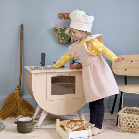 Sebra Kinderschürze und Kochmütze Dusty Pink/Classic White