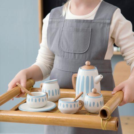 Sebra Tee-Set aus Holz Classic White/Dusty Teal 10-teilig