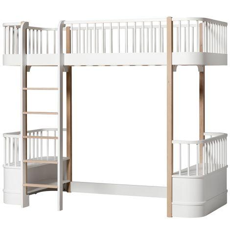 Oliver Furniture Hochbett Wood Weiß/Eiche - Leiter vorne