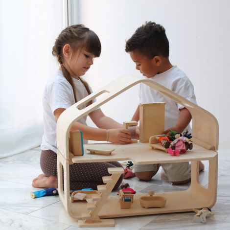 PlanToys Modernes Puppenhaus inkl. Möbel