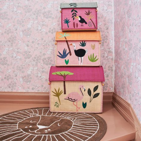 Rice Spielzeugkorb Jungle Pink
