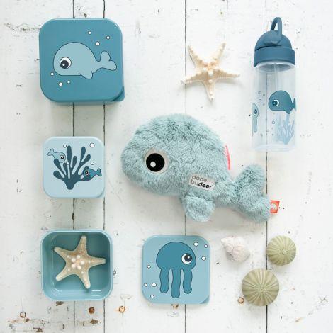 Done by Deer Trinkflasche mit Strohhalm Sea Friends Blau
