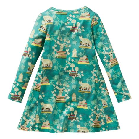 Oilily Jersey-Kleid Talomah All-Over Fox And Books Green