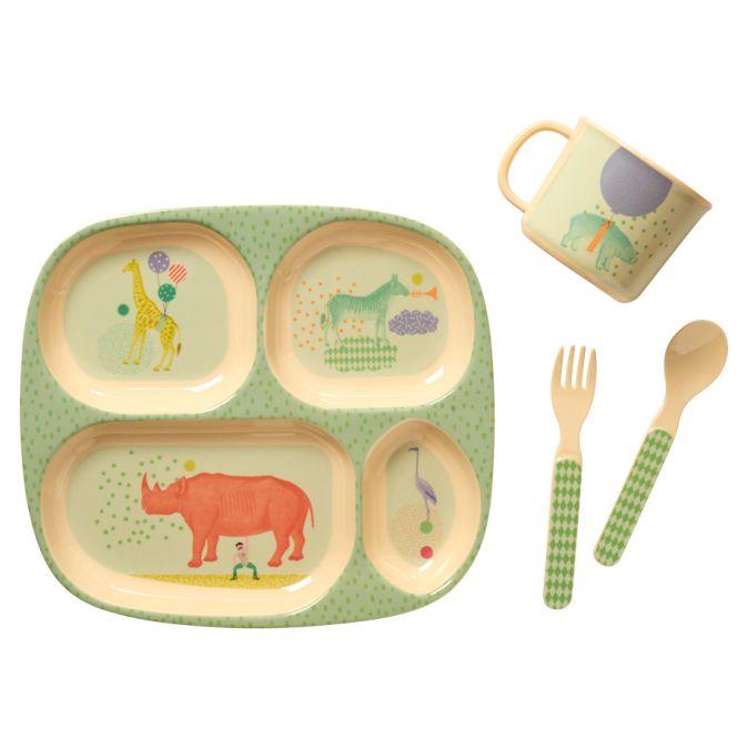 rice baby melamin gechirr geschenkbox boys animal 4er set online kaufen emil paula kids. Black Bedroom Furniture Sets. Home Design Ideas