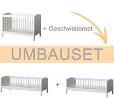 Oliver Furniture Umbauset Seaside Lille+ Baby- und Kinderbett Basic und Geschwisterset zu 2 Juniorbetten Weiß